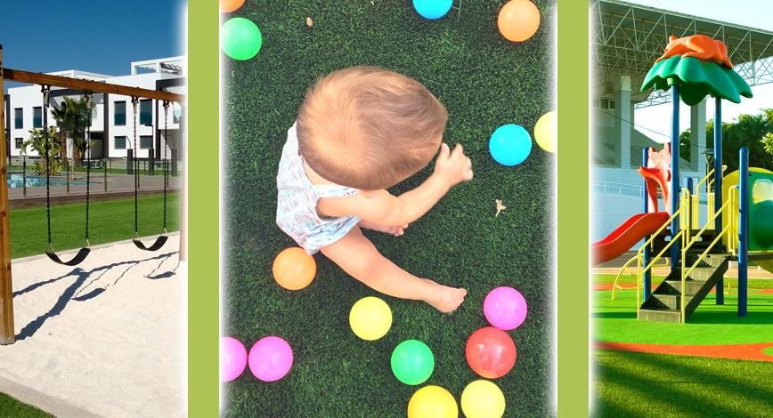 Césped artificial para niños y zonas infantiles.