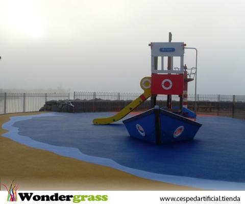 Pavimento caucho continuo para parque infantil